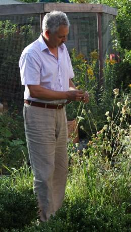 Beat Samuel Fey in seinem Garten in Lenzburg